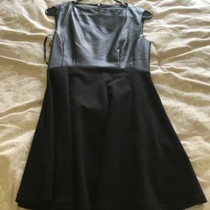 Black French connection dress with leather accent